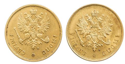 10 markan kultaraha Suomen autonomian ajalta 1878 ja 1879. Erilaiset tunnuspuolet.