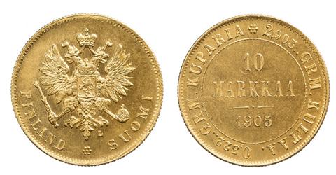 Autonomia 10 markan kultaraha vuodelta 1905. Kolikosta näkyy ensin tunnuspuoli ja sitten arvopuoli.